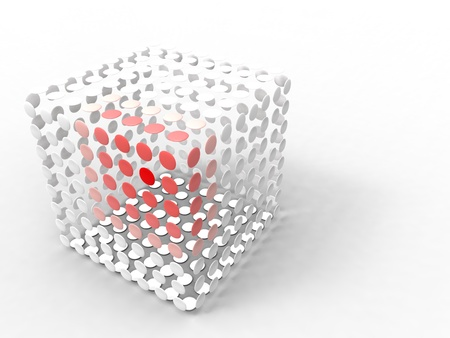 red cube: illustration of a cube made of white and red circle spaced Stock Photo