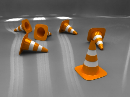 3d illustration of orange and white traffic cone on grey background illustration
