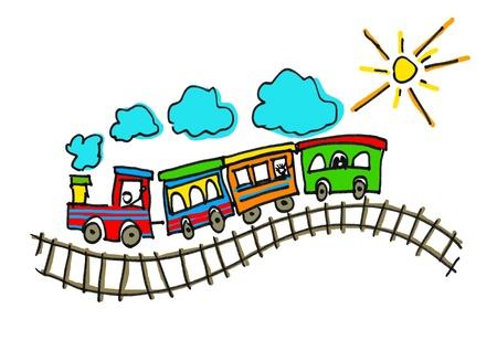 tren caricatura: ilustración de un niño