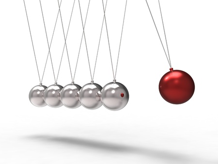 newton cradle: 3d illustration of a red chrome ball which strikes another ball
