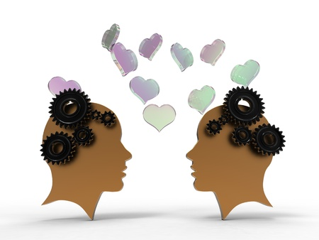illustration of two faces in profile with hearts together illustration