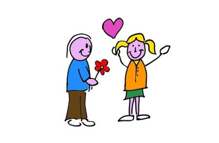 enamorados caricatura: ilustración dessin d'un repr?sentant des amoureux avec un par fleur
