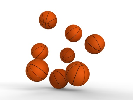 3d illustration of several basketballs being ground bounce on white background