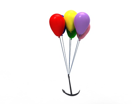nimble: 3d illustration of a group of multicolored balloons that pulls an anchor