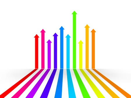 way up: 3d illustration of multicolored arrows that grow up on white background