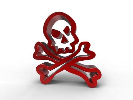 skull logo: 3d illustration of a skull in red metal on white background
