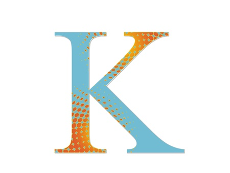 2d illustration of a blue letter with a gradient of red dots on a white ground