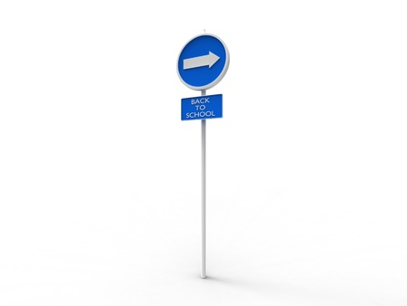 3d illustration of a blue sign indicating back to school on white background