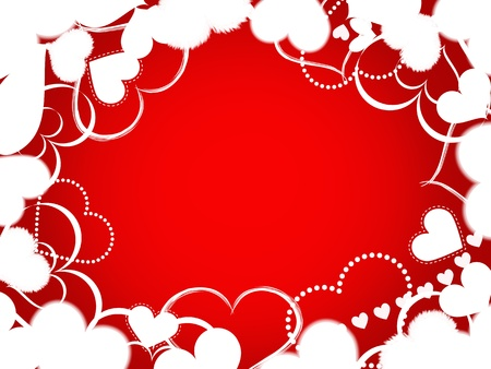 illustration of white confetti heart shaped threw on a red background
