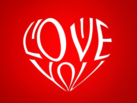 love image: illustration of a heart made with the letters distorted words I love you