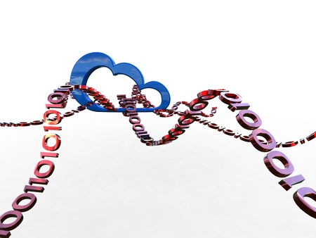 3d illustration of data exchange from a cloud on white background