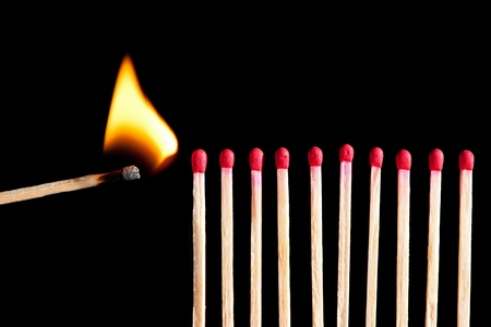 starting the fire - wooden matches in a row ready to burn, isolated on black background Stock Photo - 10046955
