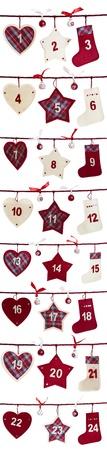 advent: Kerst advent kalender op een witte achtergrond Stockfoto