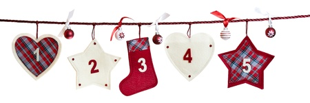 advent time: 1 - 5, part of Advent calendar isolated on white background  Stock Photo
