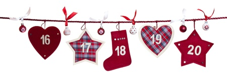 16 - 20, part of Advent calendar isolated on white background Stock Photo - 17132655