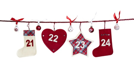 21 - 24, part of Advent calendar isolated on white background  photo