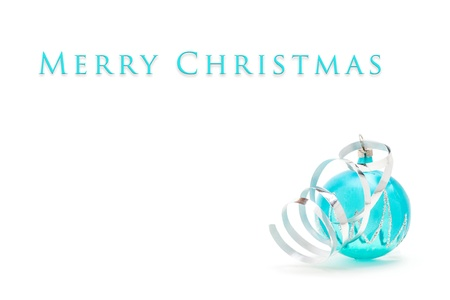 Christmas card - blue ball with ribbon on white background Stock Photo - 17132650