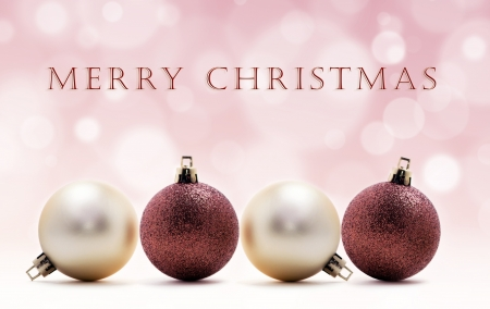 Christmas card - four christmas balls Stock Photo - 17132663