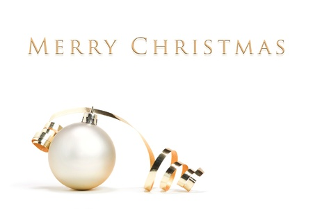Christmas card - ball with ribbon on white background Stock Photo - 17132651