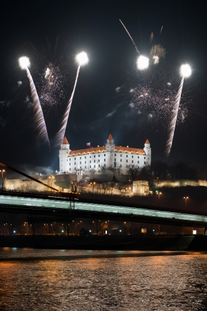 New Year fireworks above Danube river in Bratislava, Slovakia  Stock Photo - 17143003