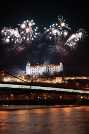 New Year fireworks above Danube river in Bratislava, Slovakia