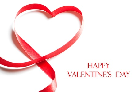 copy: Valentines day card - heart made of ribbon on white background
