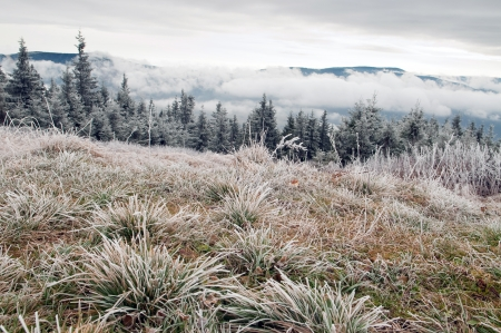 freezing morning in the mountains Stock Photo