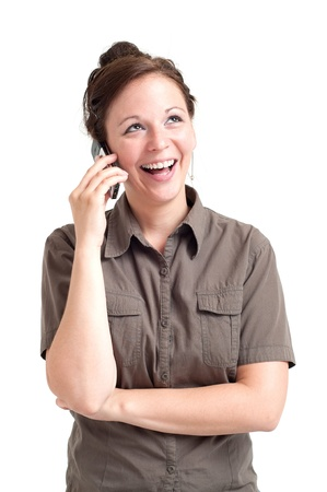Portrait of happy young woman calling by cell phone  Isolated over white background