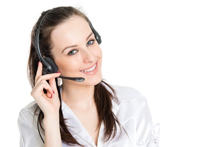 Portrait of happy smiling phone operator with headset, isolated on white background  Stock Photo - 18601414