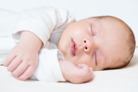 detail of adorable sleeping month old baby Stock Photo