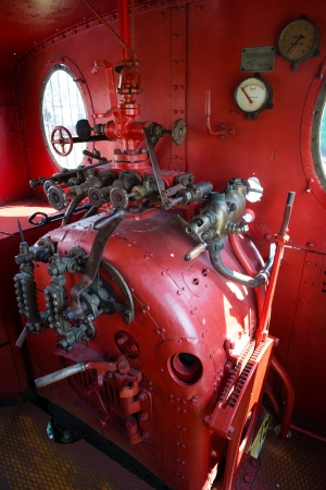 steam rally: Red engine room on the steam locomotive Stock Photo