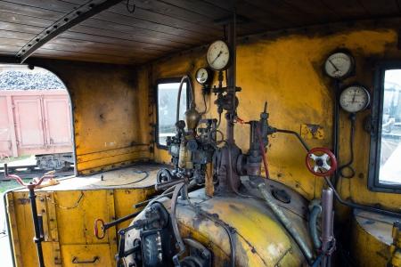 steam rally: Yellow engine room on the steam locomotive Stock Photo