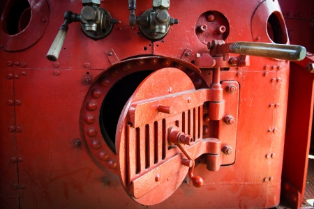 steam rally: Detail of red engine room on the steam locomotive Stock Photo