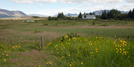 Thingvellir National park with village and white church in background, Iceland photo