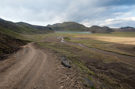 road to Landmannalaugar - colored mountains on Iceland