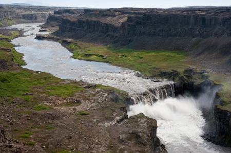 dirty water: Hafragilsfoss waterfall, Iceland Stock Photo