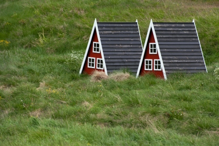 two small houses for elves in Iceland Stock Photo