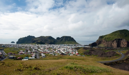 small city on the Heimaey island, Iceland Stock Photo