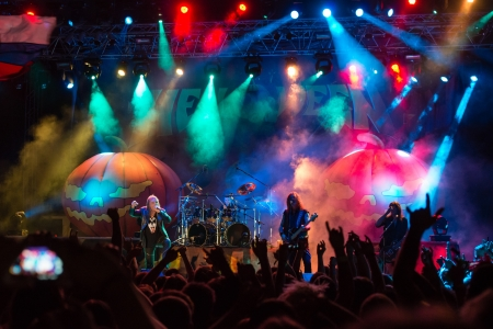 SNINA, SLOVAKIA - AUGUST 10  German power metal band Helloween performs on music festival Rock pod Kamenom in Snina, Slovakia on August 10, 2013