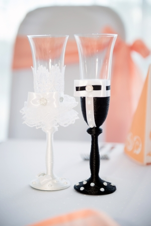 wedding glasses for bride and groom photo
