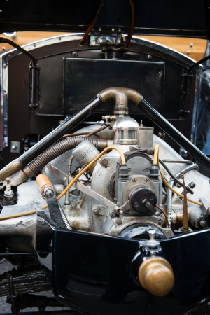 carburettor: detail of vintage car engine Stock Photo