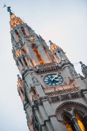 Town Hall  Rathaus  tower in Vienna at dusk, Austria photo