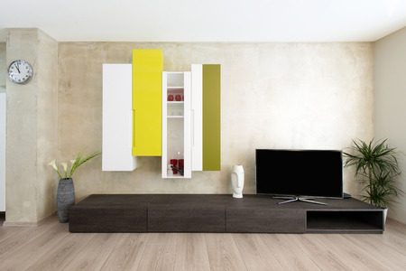 detail of modern living-room - wall with TV photo