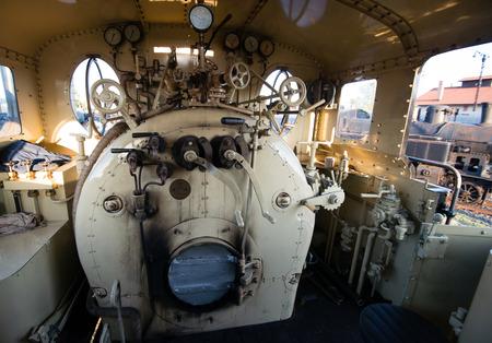 steam rally: Engine room of steam locomotive