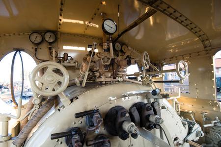 museum rally: Engine room of steam locomotive