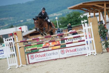 zak: PEZINOK, SLOVAKIA - JULY 29  Michal Zak  SVK  on horse Cantu jumps over hurdle on Rozalka Cup 2014 on July 29, 2014 in Pezinok, Slovakia