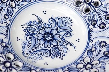 detail of decorative blue ceramic from Modra, Slovakia