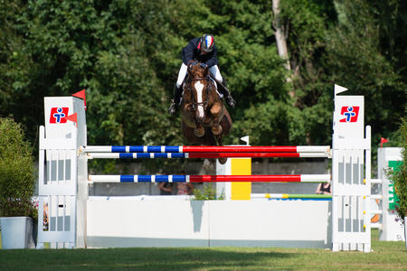 BRATISLAVA, SLOVAKIA - AUGUST 10  George Emeric  FRA  on horse Rocker d