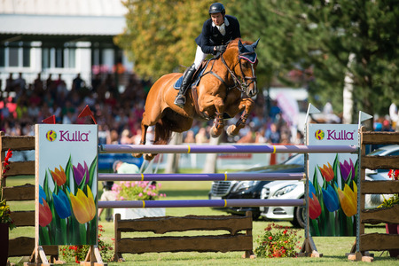 BRATISLAVA, SLOVAKIA - AUGUST 10  Kovács Kaarlo  FIN  on horse Agropoint Cassius jumps over hurdle during Mercedes-Benz Grand Prix Bratislava, Slovakia