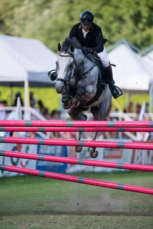 BRATISLAVA, SLOVAKIA - AUGUST 10  Gombos László  HUN  on horse Aladin jumps over hurdle during Mercedes-Benz Grand Prix Bratislava, Slovakia